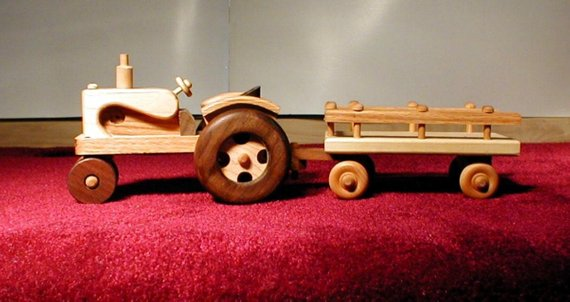 Wooden Tractor with Wagon Set