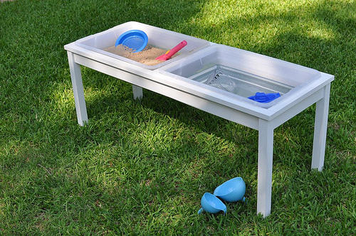 Farmhouse Style Water and Sand Table with Covers