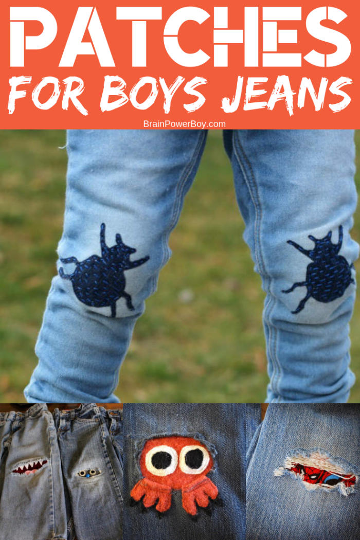 The very best way to fix holes in the knees of boys pants or jeans is to DIY a fun patch.