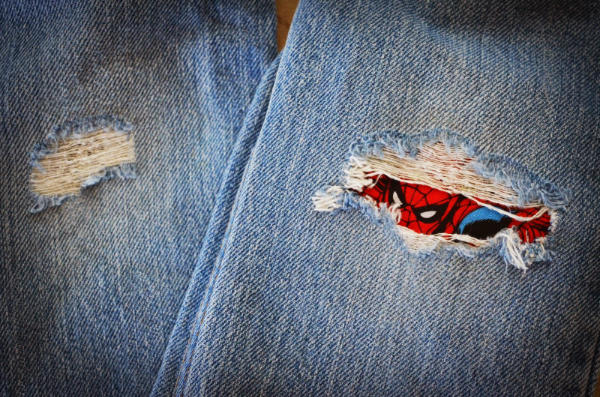 Fix Holes in Jeans with Superheroes Patches