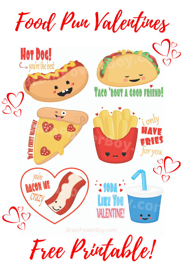 Cute kawaii food puns for Valentine's Day. Print yours now.