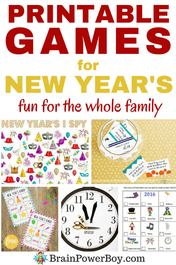 Want a great way to ring in the new year? Try these wonderful printable games! Bingo, scavenger hunt, pin the hands on the clock (so clever,) I spy, word search, silly fill-in and even a remembrance game. Fun, fun and more fun for the whole family.