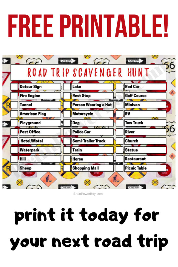 Printable Scavenger Hunt Game with Items to Find on a Trip