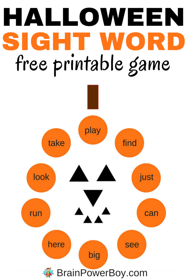 This free printable sight word game for Halloween comes with two cute pumpkin boards and cards. One of the boards includes dolch sight words for preschoolers and the other is blank so your can add your own words. Click picture to print your free sight word game.