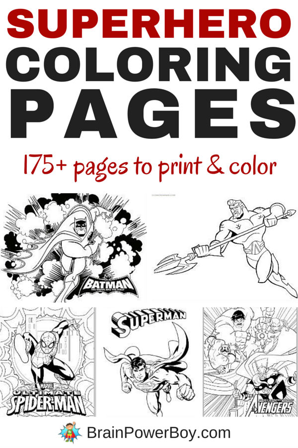 Are your kids big Superhero fans? Do they like to color? Have we got a great roundup for you. Click the picture for 175+ Free Printable Superhero Coloring Pages including Batman, Superman, Spider-Man, Big Hero 6, Green Lantern, Hawkman, The Justice League, LEGO Superheroes, Teen Titans and many more. Wow!!