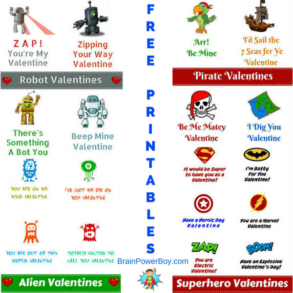 Get Alien, Superhero, Robot and Pirate Valentines for Boys today. Free Printables!