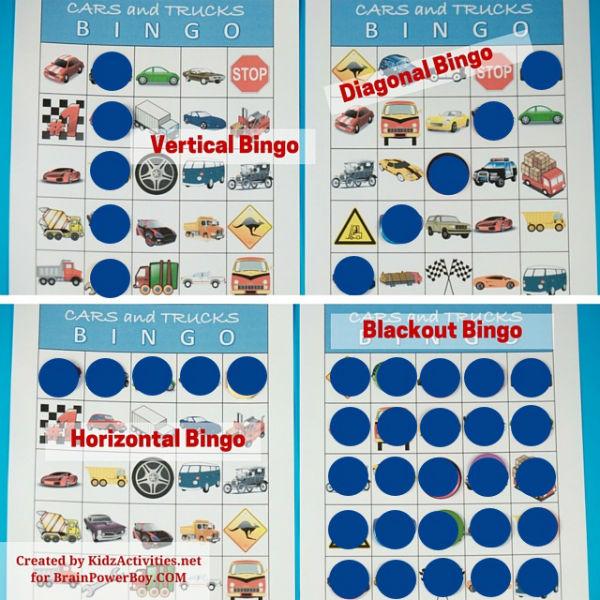 Free printable bingo game winning combinations for Cars and Trucks Bingo Game. Fun!