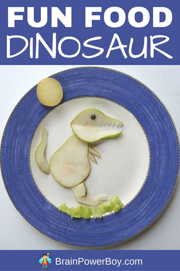 Make this fun food dinosaur out of a pear! This easy to make healthy dinosaur snack will be a hit with your dinosaur fan! Click image for additional pictures and directions.
