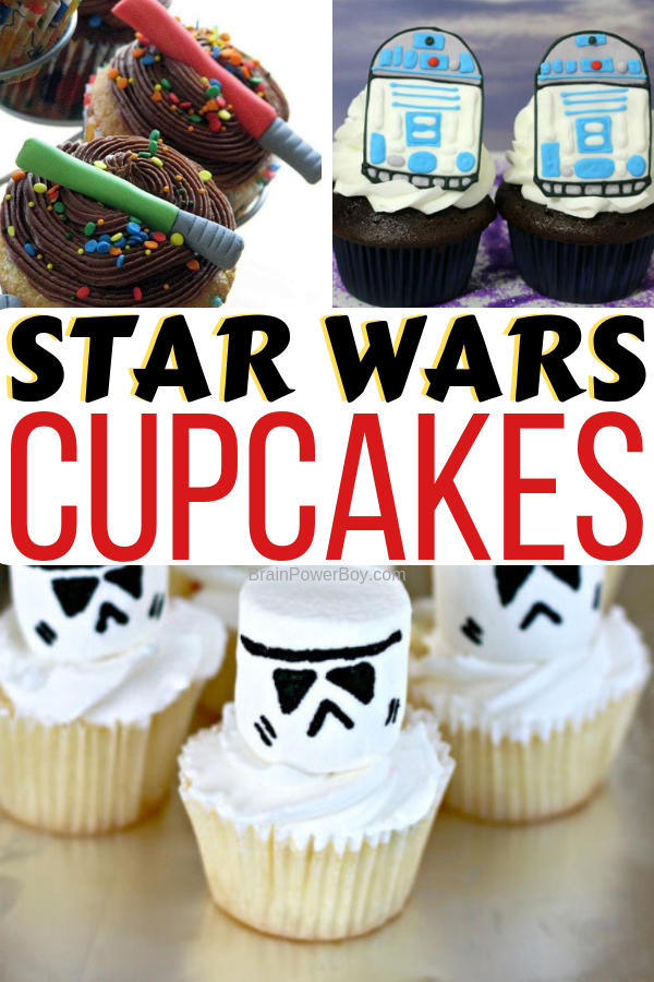 These fun food Star Wars Cupcakes are easy to make and so cool! Perfect for a Star Wars party, Star Wars Day, or any day you need some galactic fun in your life.