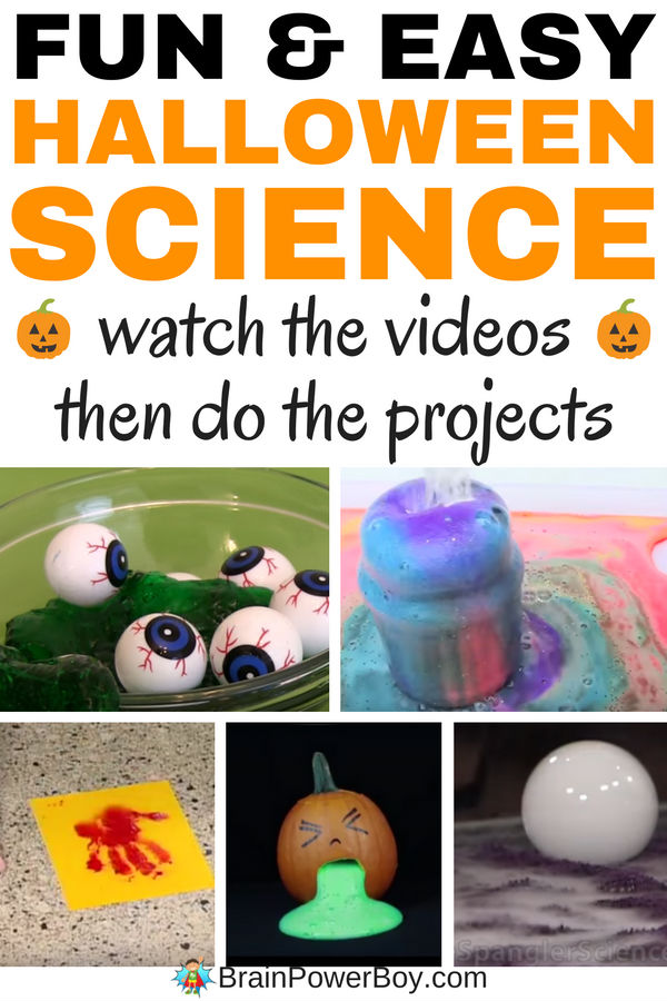 Try these awesome fun and easy Halloween Science Projects! Click to view the videos and then try the projects in your homeschool, classroom or at home. Your kids will learn science while enjoying fun Halloween activities. Over 10 simple Halloween Science experiments ideas to try.