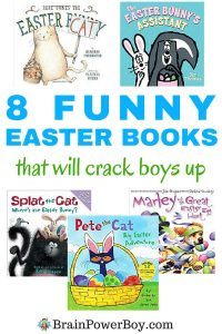 Tickle your boy's funny bone with these funny Easter books. 8 titles to get them reading. Super for Easter basket fillers too! Click image to see all of the titles.