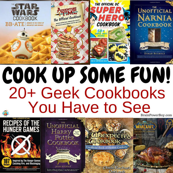 Over 20 of the very best geek cookbooks out there! Includes Harry Potter, Narnia, Star Wars, Star Trek, Hunger Games, WOW, Dr. Who, Superheroes, Game of Thrones, Pokemon, Adventure Time, The Hobbit . . . Click or tap to see them all! (Plus: fun geeky kitchen extras you do not want to go without!)