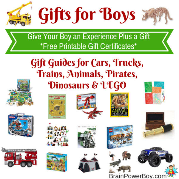 Gift Guides for Boys with Free Printable Gift Certificates