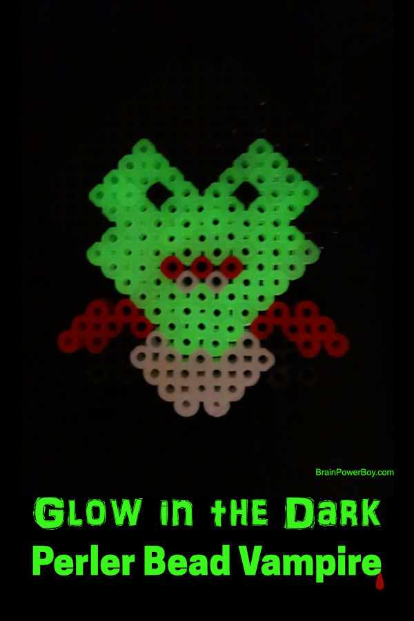 Glow in the Dark Perler Bead Vampire with an eerie greenish glow. So cool!! To see the instructions, and tips for making it, tap or click now.