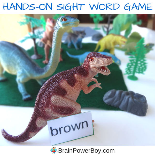 Play this hands-on sight word game with a dinosaur theme. Easy to set up! Use our free printable preschool and kindergarten words chosen specifically for this game. If you have a dinosaur fan who is interested in reading, this is the game for you.