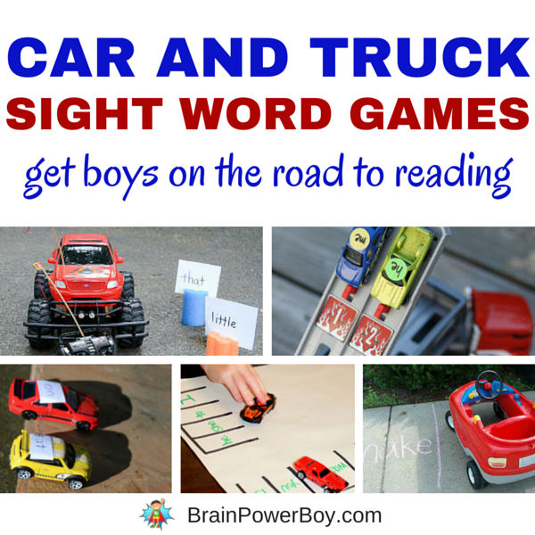 Play a few of these 7 awesome car and truck sight word games as a way to help boys learn to read. We love #7. Click picture to read the article and play these hands-on games.