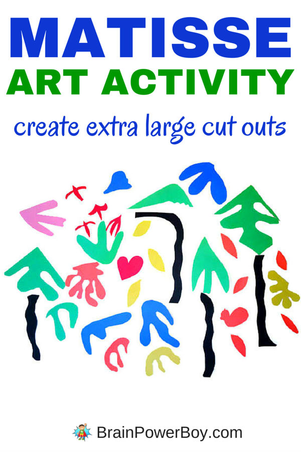 Get out the big paper! This Henry Matisse art activity uses large paper to make cut outs to fill your walls. Paired with the book Henry's Scissors this is a wonderfully memorable art experience for kids.