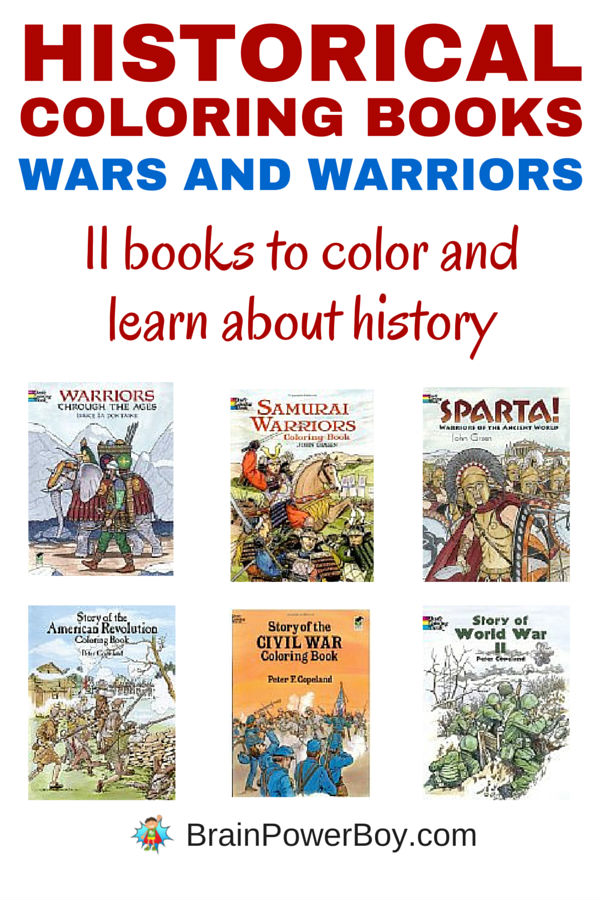 Are you looking for a great way to learn about history? Try 11 Historical Coloring Books about wars and warriors. From Sparta, to the Samurai to the wars, all books are captioned with historical information. You can't go wrong with these inexpensive books that cover history in an interesting way.