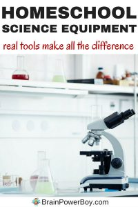 Get the homeschool science equipment you need to do science at home. Using real tools will make all the difference and your kids' interest in science will soar. Get the list of essential science equipment today.