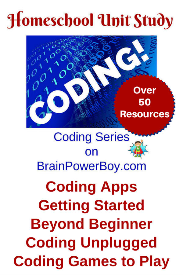 Huge homeschool unit study on coding on https://brainpowerboy.com