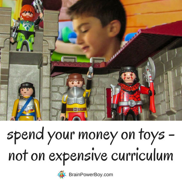 Spend more money on toys and playthings than you do on curriculum if you want your kids to learn. Tips in this article on How to Rock Homeschooling with Only 100 Bucks! Click to read.
