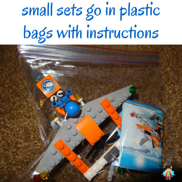 Store small LEGO sets in plastic bags with all the pieces and the instructions. See more storage and organization ideas by clicking. Great tips!