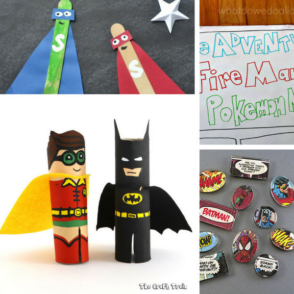 Find a total of 12 superhero crafts including how to make a huge comic book, comic magnets, tp roll batman and robin and popsicle stick superhero with cape.