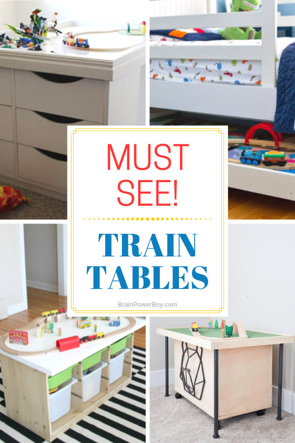 IKEA Hack train tables and wooden train tables from easy to more complex with storage. Click or tap to find the perfect one for your train fan!