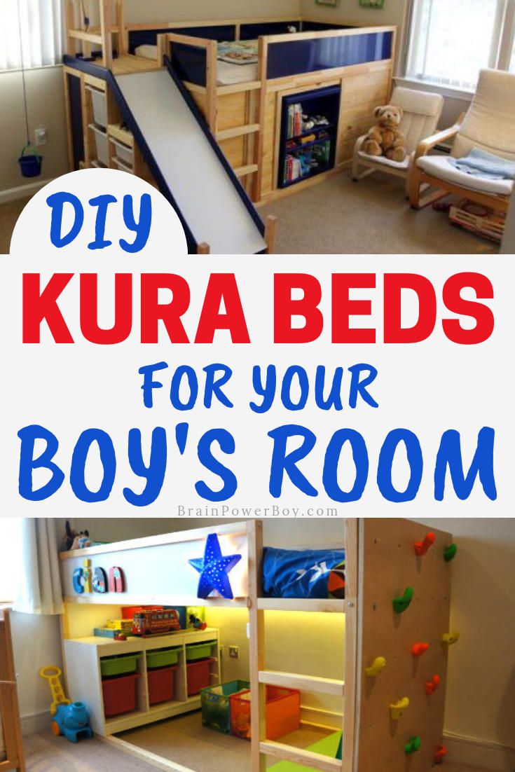 You have to see these cool beds! They are all IKEA KURA bed hacks that are perfect for boys rooms.