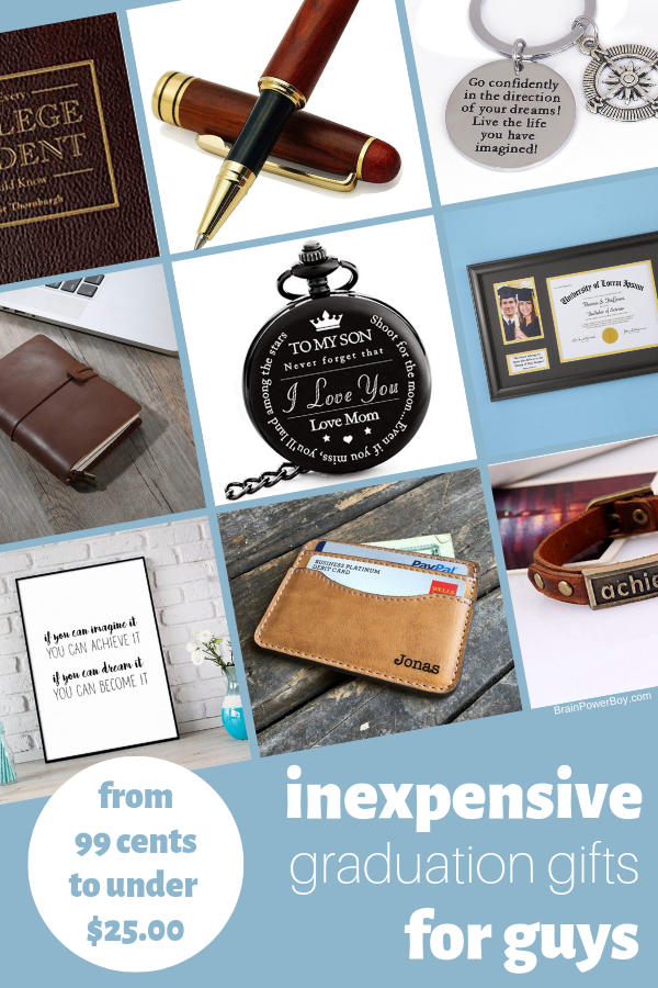 You are going to love these inexpensive graduation gifts for guys! They do not cost a lot but they are really nice. Click or tap to see over 23 cool ideas..