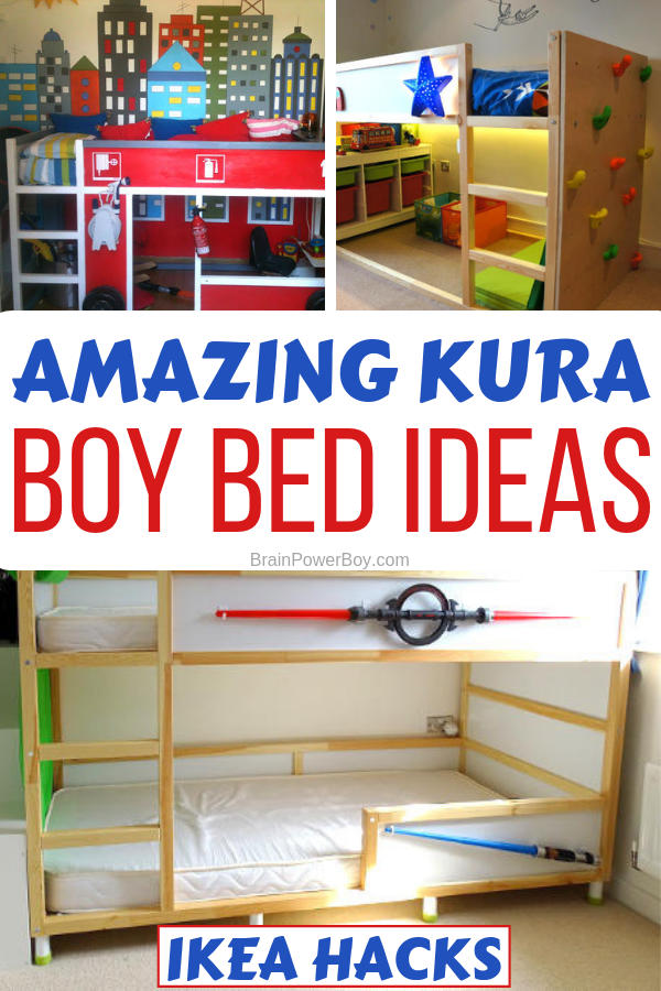 Amazing boys room bed ideas using the IKEA KURA bunk bed. Fire truck bed, Star Wars bed, castle bed and more that your boys will love.