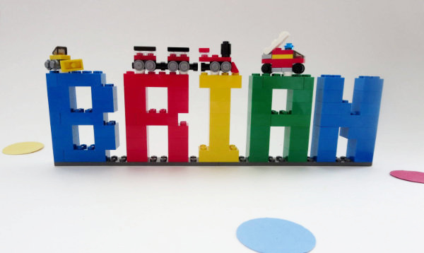 LEGO name made out of bricks