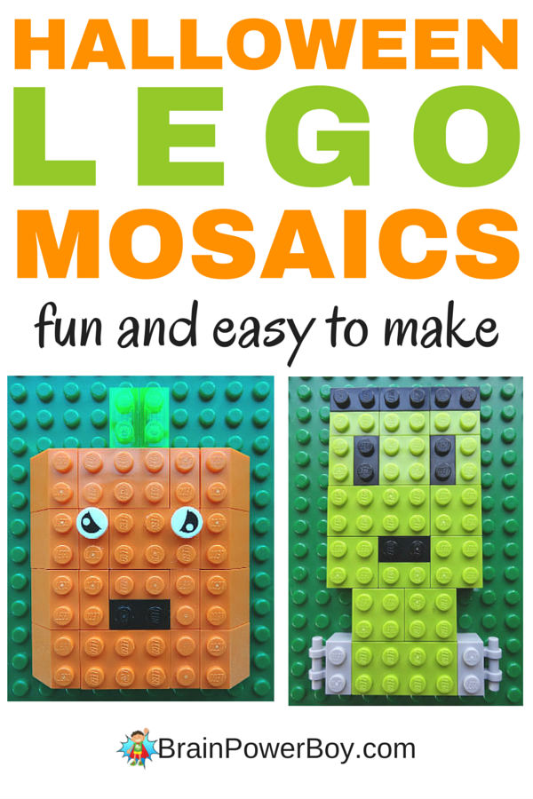 3 super fun Halloween LEGO Designs to make. Make these LEGO mosaics: pumpkin, Frankenstein's Monster and skeleton (see it by clicking on the image to go to the article) for a fun Halloween craft project for kids.
