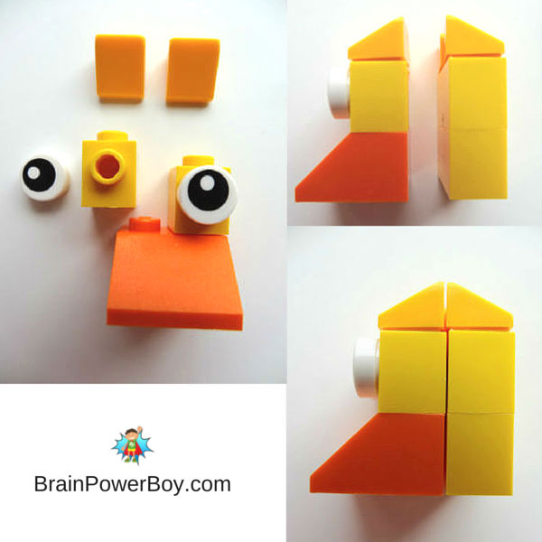 Part of the instructions for building a LEGO Easter Duck.