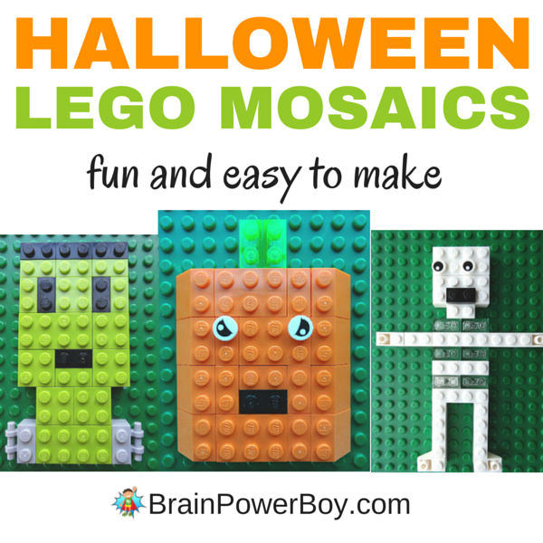 3 super fun Halloween LEGO Designs to make. These LEGO mosaics: pumpkin, Frankenstein's Monster and skeleton are a great Halloween project for kids.