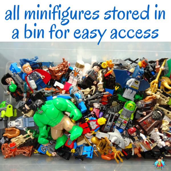 We decided to get serious about LEGO storage and organization and came up with ideas that really work. See article for more tips like this LEGO minifigure storage idea.