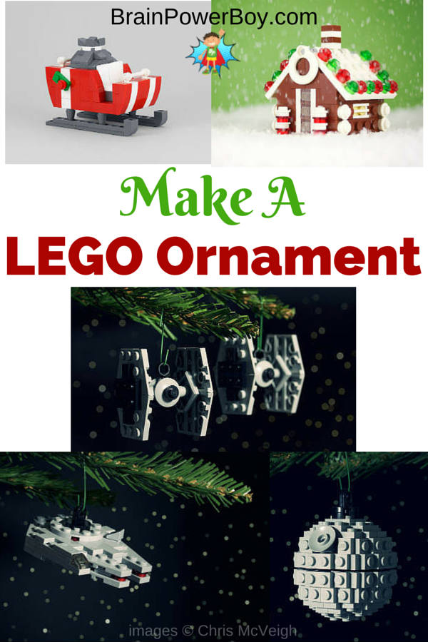 Make these awesome LEGO Christmas Ornaments. Includes gingerbread house, sleigh, and Star Wars TIE fighter, Millennium Fighter, and Death Star.