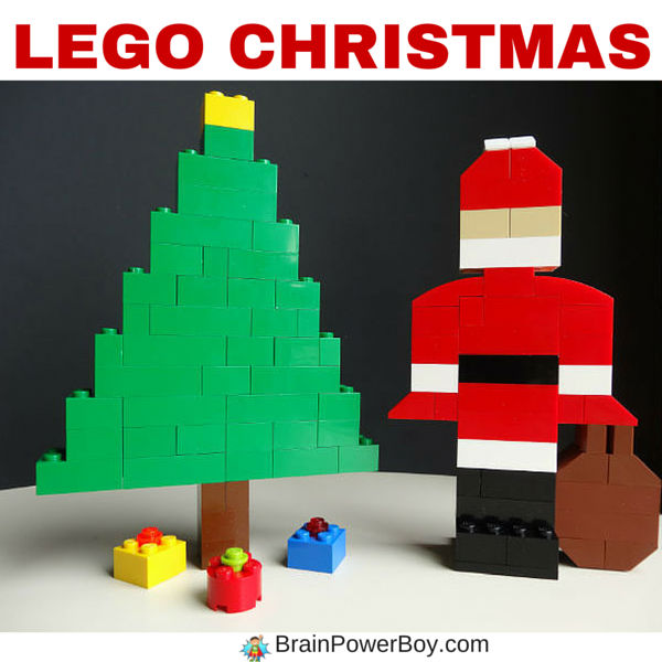 DIY LEGO Christmas scene with an easy to make LEGO Santa, Christmas tree and gifts. They make a great Christmas LEGO project for kids.