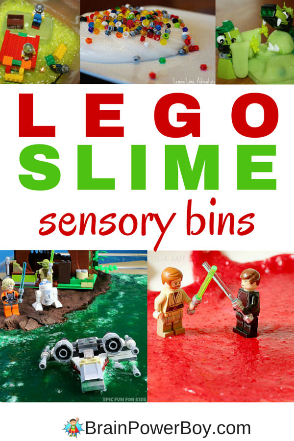 LEGO Slime Sensory Bins bring a whole new dimension to playing with LEGO. What fun! Click the image to see all of the great bins.
