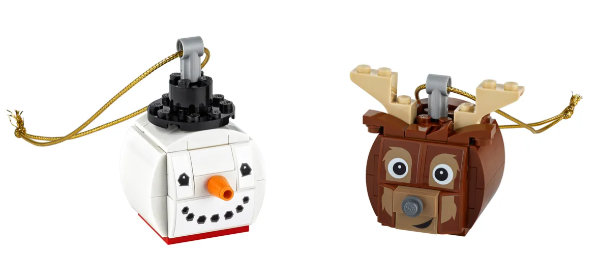 Snowman and Reindeer Head Ornaments made out of LEGO