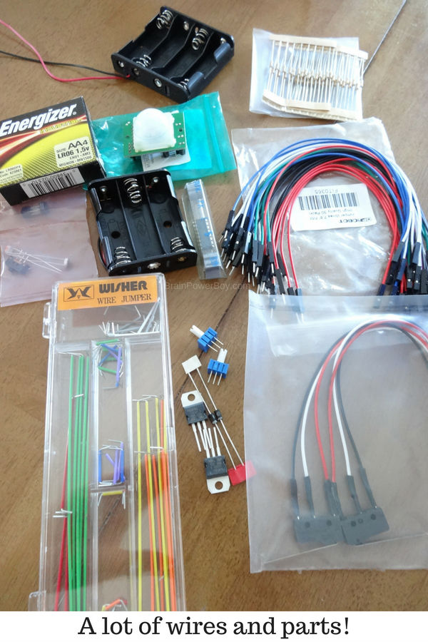 So many cool parts came with our robot kit! (ad with Home Science Tools)