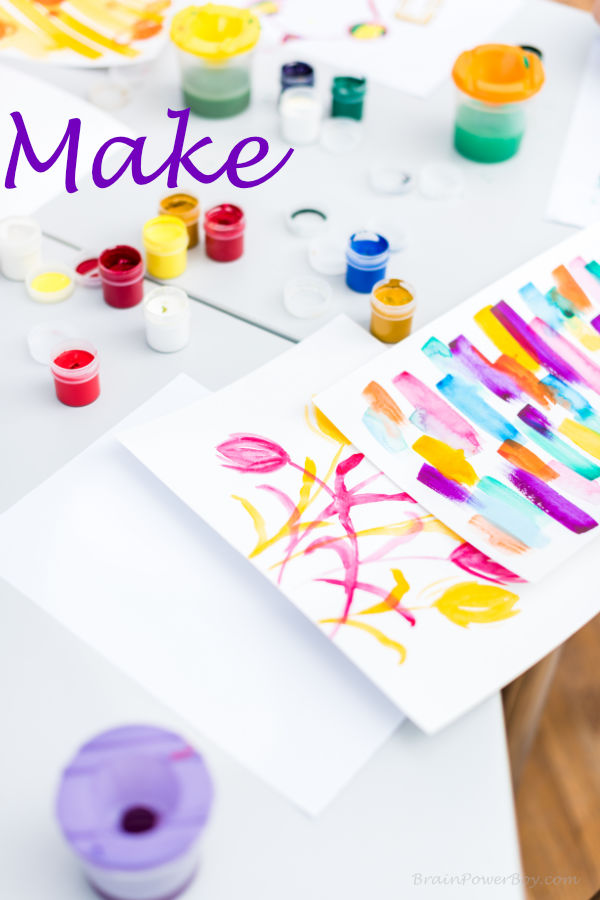 Making art with colorful paints helps kids learn about creating one thing from something else