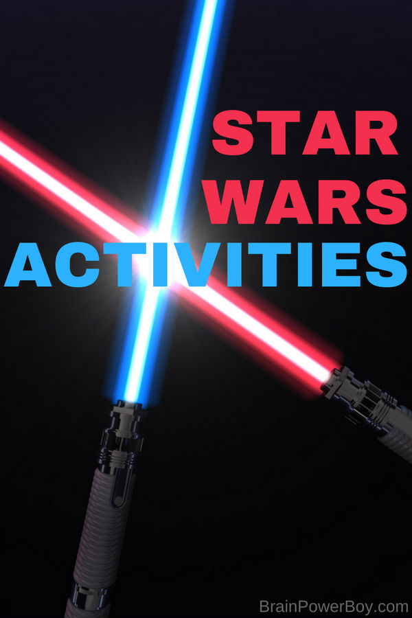 Star Wars Activities!! This is a whole unit study on Star Wars including books, building ideas, apps, crafts, learning activities, music and even Star Wars food! #starwars #unitstudy #activitiesforkids