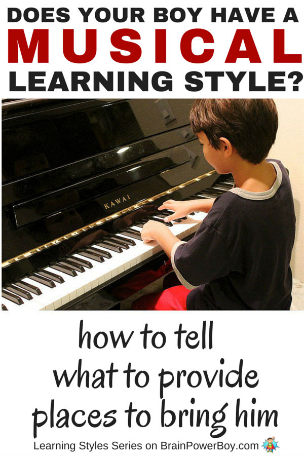 Does your boy love music and hum or sing all day long? If you want to help your boy learn, take a look this series which delves into learning styles. Find out more about the Musical Learning Style, how to tell if your boy has it, what to provide him with, and places you can take him to honor the way he learns. Click the picture to read more.