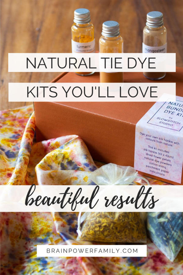 Natural tie dye kits with dried flowers and powders to dye fabric