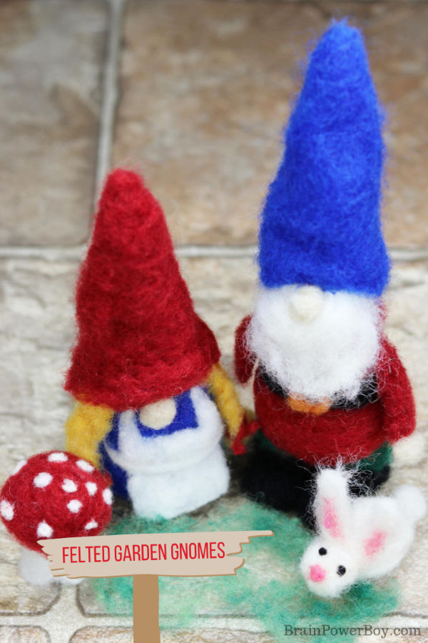 Make a gnome couple with accessories. Such a sweet needle felting project!