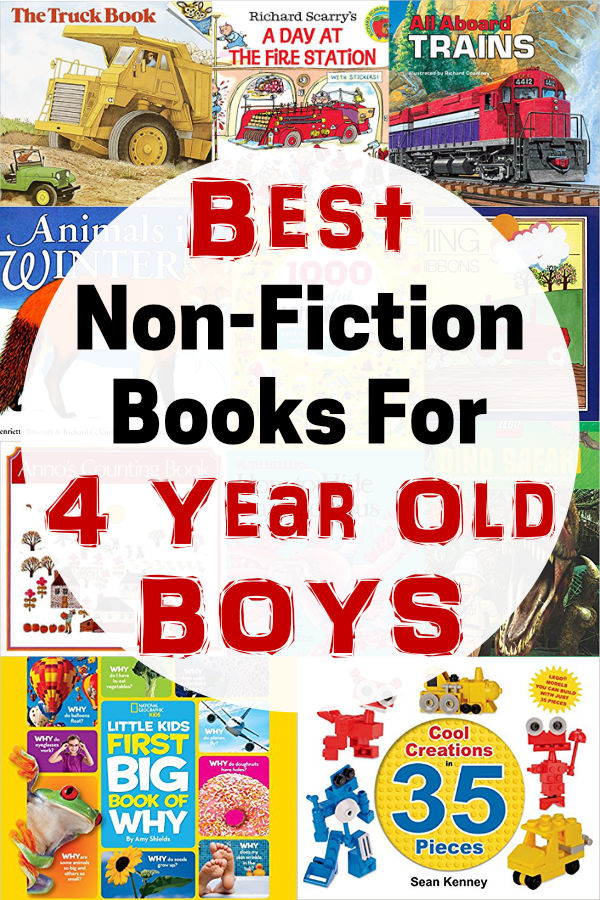 Grab this list of non-fiction books for 4 year old boys. Non-fiction books are great for boys and this list has the best ones for boys age 4!