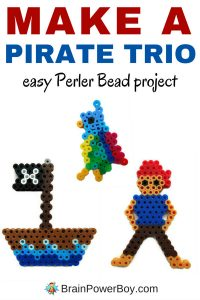 Hey pirate fans! Here is a fun pirate Perler Bead pattern for a pirate trio. A parrot, a ship and a pirate. All are easy to make and instructions are included. There are great for Talk Like a Pirate Day or any day!