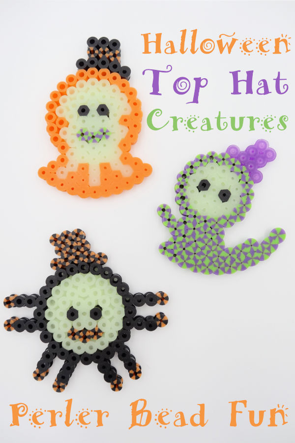 Silly little Halloween Perler Bead Creatures. A ghost, a spider and a little monster who are all wearing top hats! AND guess what - they glow in the dark!! Get the pattern by clicking through.