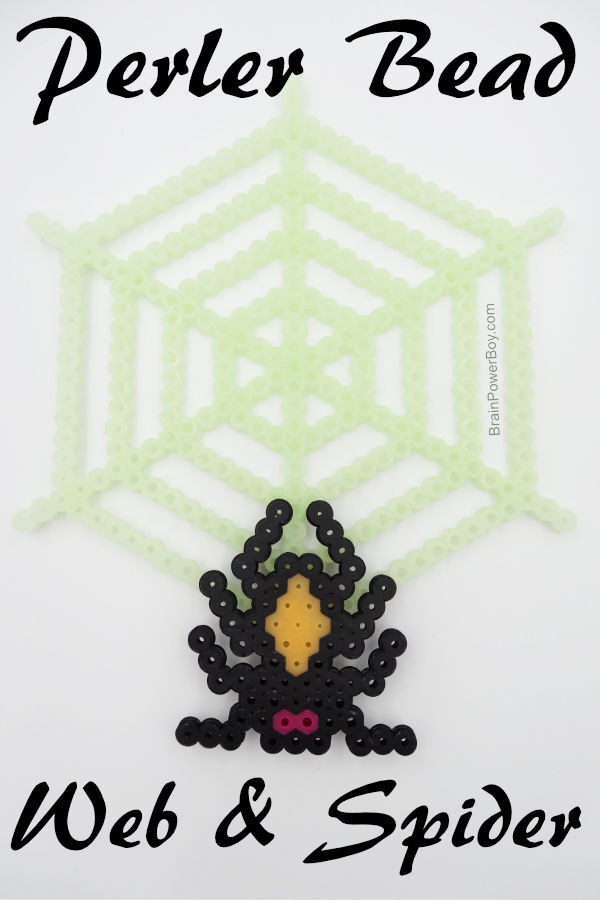 This spiderweb and spider Perler bead project is great for Halloween or any time you need a glow in the dark web. Click through to make the pattern and see the web glow.